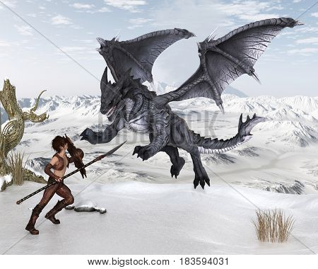 Fantasy illustration of a warrior elf boy wearing bronze dragon scale armour and fighting a dragon with spear and shield on a snowy winter mountain, digital illustration (3d rendering)
