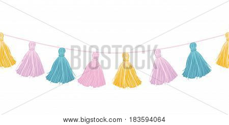 Vector Colorful Pastel Hanging Decorative Tassels With Ropes Horizontal Seamless Repeat Border Pattern. Great for handmade cards, invitations, wallpaper, packaging, nursery designs. Surface pattern design.