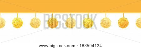 Vector Golden Yellow Decorative Pom Poms On A String Horizontal Seamless Repeat Border Pattern. Great for handmade cards, invitations, wallpaper, packaging, nursery designs. Surface pattern design.