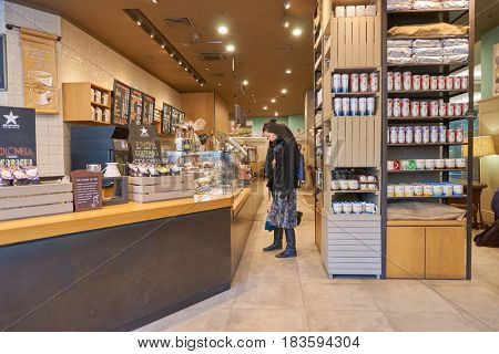 SAINT PETERSBURG, RUSSIA - CIRCA APRIL, 2017: inside Starbucks coffee shop. Starbucks Corporation is an American coffee company and coffeehouse chain.