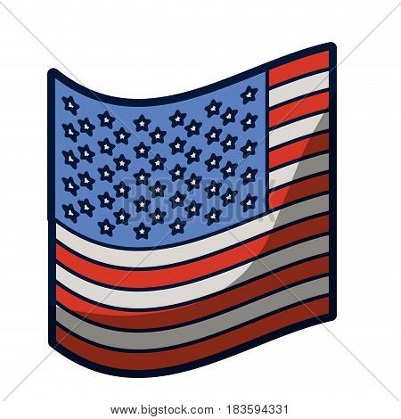 light colours silhouette of small flag of the united states with half shadow vector illustration