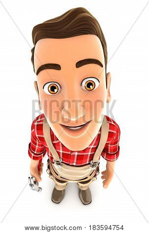3d handyman standing and looking up at camera illustration with isolated white background