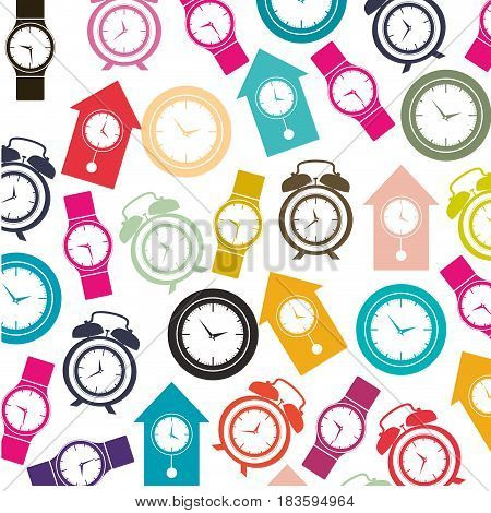 colorful pattern with clock models vector illustration