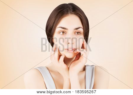 gorgeous brown eyed dark haired model portrait
