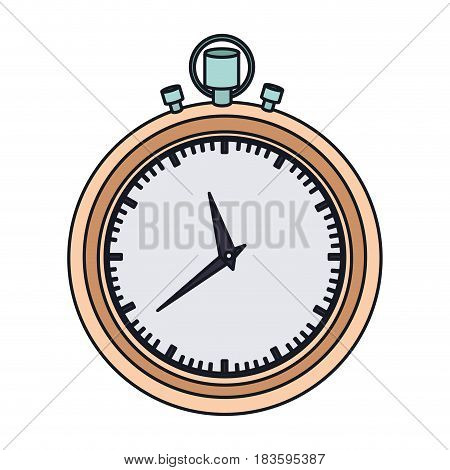 color graphic of stopwatch with thick contour vector illustration