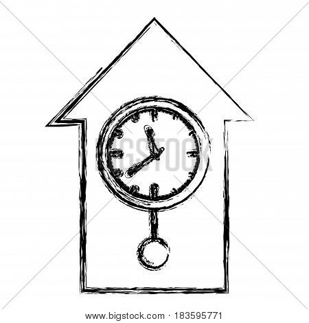 monochrome blurred silhouette with cuckoo clock vector illustration