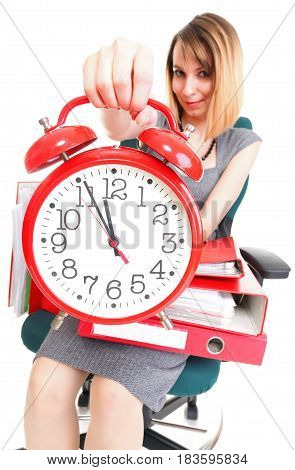 Woman Work Stoppage Overworked Businesswoman Plenty Of Documents Isolated