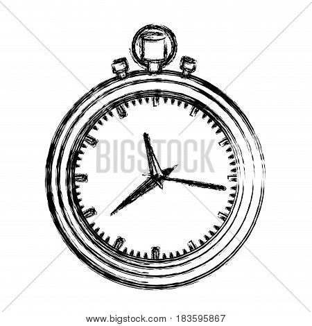 monochrome blurred silhouette with black stopwatch vector illustration