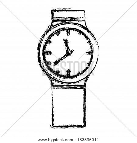 monochrome blurred silhouette with small male wristwatch vector illustration