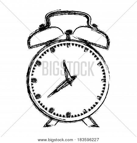 monochrome blurred silhouette of alarm clock vector illustration