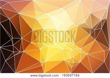 Yellow coral pink black abstract low poly geometric background with white triangle mesh.