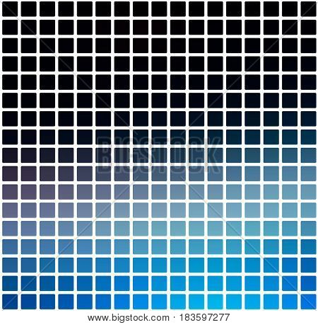 Deep and pale blue vector abstract rounded corners tiles mosaic over white background square