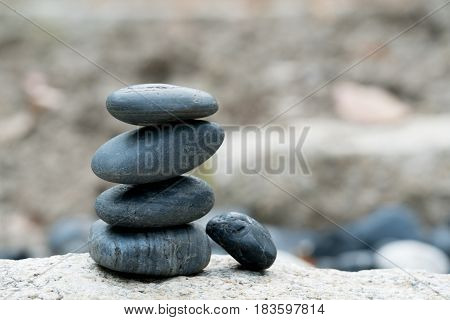 Balance stone stack, all the successful have a good support, peaceful concept
