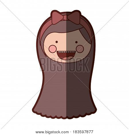 color silhouette shading smile expression cartoon front face girl with brown long hair and bow lace vector illustration