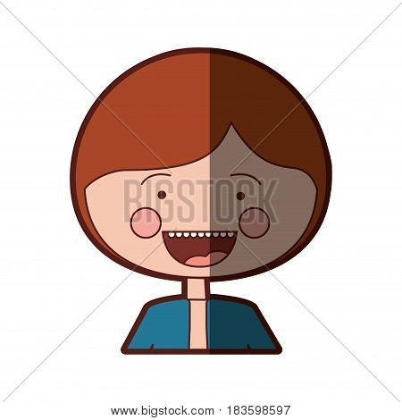 color silhouette shading smile expression cartoon half body guy with jacket vector illustration