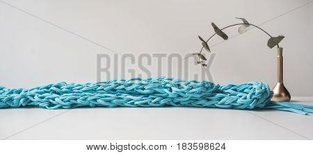Header for site design. Needlework, handmade. knitting and crocheting, yarn. Horizontal format, space for text