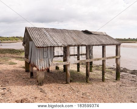 An Old And Abandoned Sea Shack Shed Decaying And Rotting