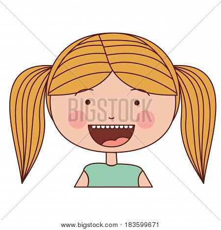 color silhouette smile expression cartoon half body girl with blond pigtails striped hair vector illustration