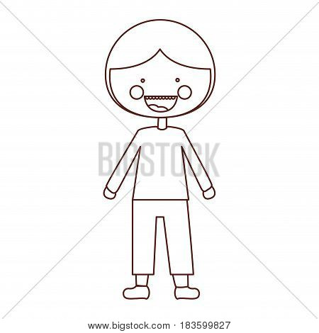 sketch contour smile expression cartoon guy with coat and shorts vector illustration