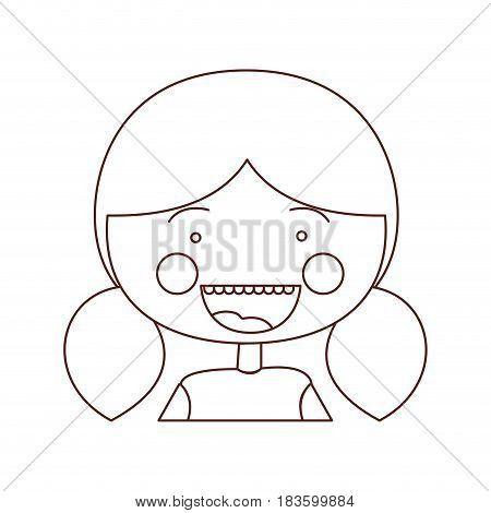 sketch contour smile expression cartoon half body girl with pigtails hair vector illustration