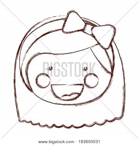 blurred contour smile expression cartoon front face girl with short hair and bow lace vector illustration