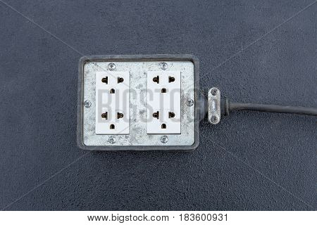 electric plug adapter on floor ready to use as electric appliance at home or office