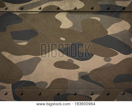 metal plate with camouflage 3d illustration