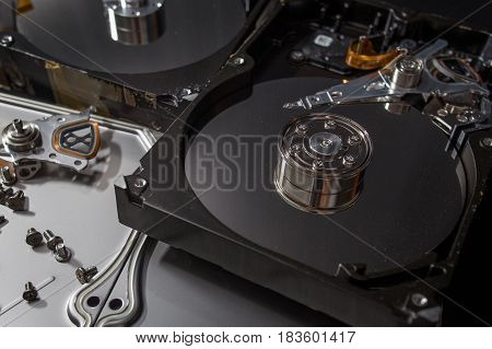 Hard disk scrap electronics  image closeup