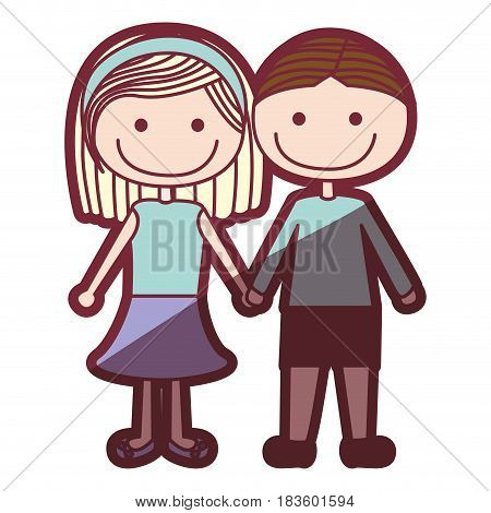 color silhouette shading cartoon couple in suit informal with taken hands vector illustration