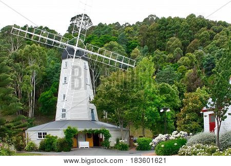 Historic windmill converted to house the entrance to Founders' Park, Nelson, New Zealand
