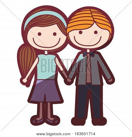 color silhouette shading cartoon blond male hair and female side hairstyle with taken hands vector illustration
