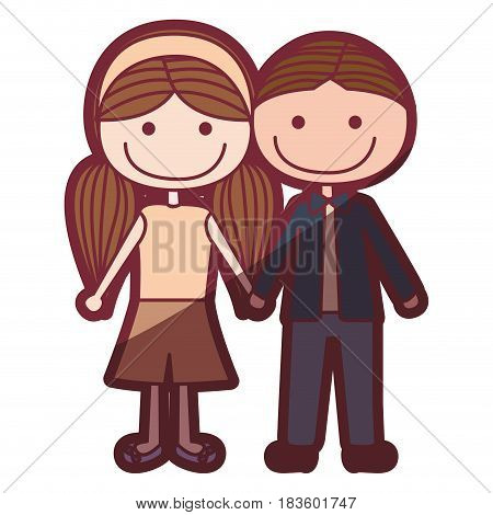 color silhouette shading cartoon brown boy hair and girl pigtails hairstyle with taken hands vector illustration