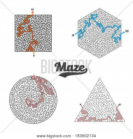 Illustration of Vector Maze Set Isolated. Labyrinth Game Puzzle with Solution Concept