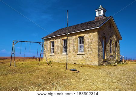 Fox Creek Schoolhouse built in the 1880s and is a historical landmark at the Tallgrass Prairie on the Kansas Plains