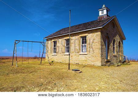 Fox Creek Schoolhouse built in the 1880s taken at the Tallgrass Prairie in the Kansas Plains