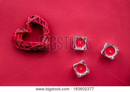 romantic dinner in red color with candles and heart on table top view mockup