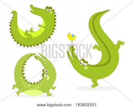 Cartoon green crocodile funny predator and australian wildlife river reptile carnivore alligator scales teeth flat vector illustration. Tropical africa safari zoo character crocodylus.