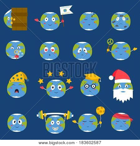 Cartoon globe emotion icons smile happy nature character expression vector illustration avatar.