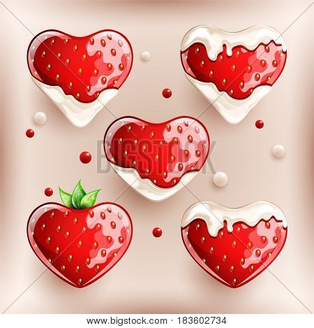 Fresh strawberries in cream on colorful background. Vector illustration.
