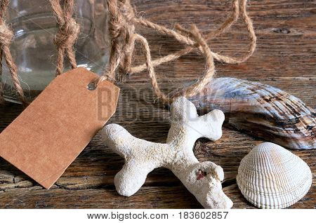 A close up image of several different seashells and a glass jar.