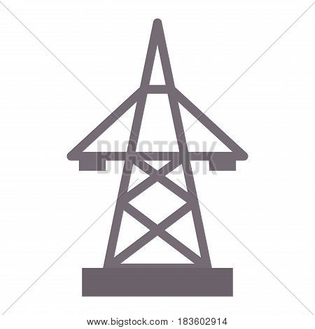 Electric pole icon vector illustration electrical technology voltage energy transmission industrial wire tower. Danger power construction equipment metal transformer pylon.