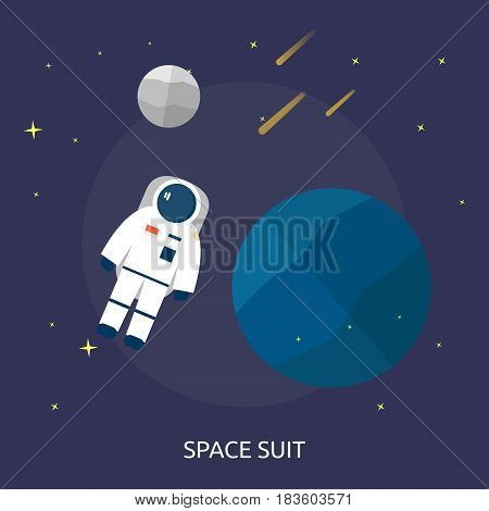 Space Suit Conceptual Design | Great flat illustration concept icon and use for space, universe, galaxy, astrology, planet and much more.