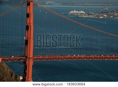 Golden gate and Bay bridge with cruise ship on a clear day