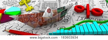 Finance. Business still life. Paper boat from an Russian banknote (ruble) charts electronic calculator a red pencil red symbol of percent round diagram and gold key from house on the sheet of business sketches. 3D Illustration