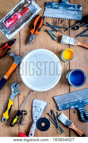 instruments set for decorating and building renovation on wooden work desk background top view