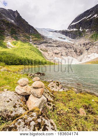Boyabreen Glacier and lake landscape in Fjaerland area Sogndal Municipality in Sogn og Fjordane county Norway.