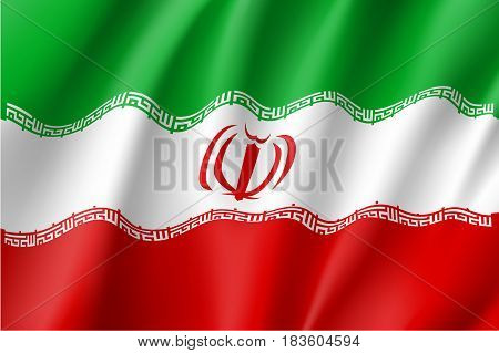 Iran national flag, fluttering in the wind, educational and political concept, realistic vector illustration
