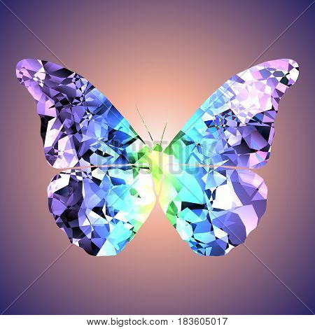 The image of the butterfly executed in the form of a crystal.