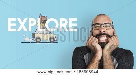 Man with illustration of discovery journey road trip traveling