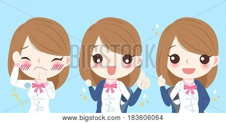 cute cartoon woman with armpit problem on blue background